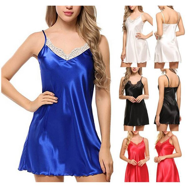 Sexy Women Silk Satin Lace Sleep Dress Spaghetti Strap Home Nightgown Casual Hollow Out Lingerie Night Dress Night Dress Female S-XXL