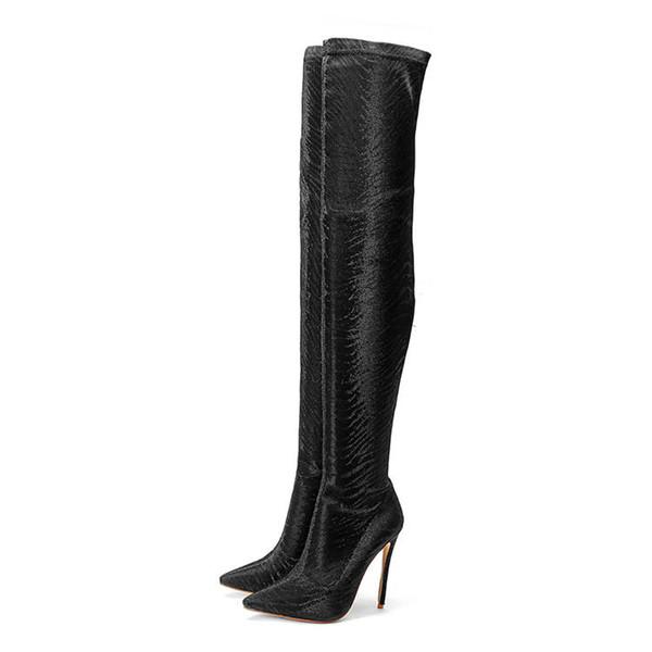 bottes cuissardes daim noir luxe