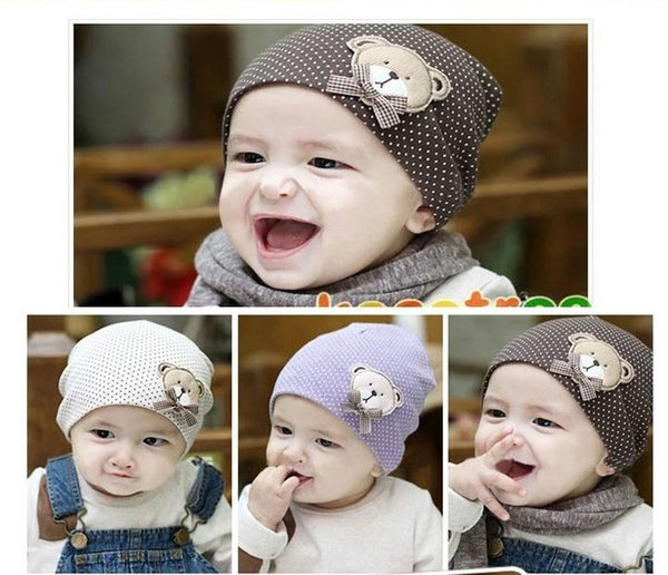 2018 Baby Boys Girls Cartoon Bear Hats Kids Cotton Polka Dots Caps Niños Sombrero 10pcs / lot