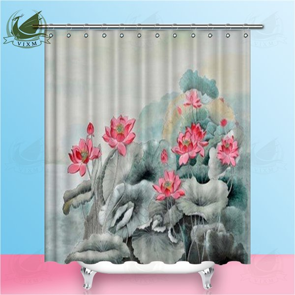 Vixm Chinese Style Painting Sketch Sleeping Lotus Shower Curtains Oil Painting Style Waterproof Polyester Fabric Curtains For Home Decor