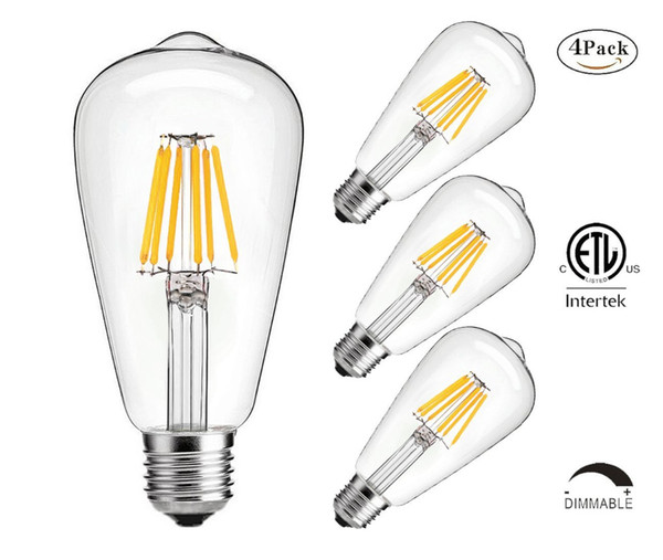 LED Edison Bulb,6w Dimmable Led Light Bulb, 60 Watt Incandescent Equivalent Filament Light Bulb, st64 bulb,2700K Soft