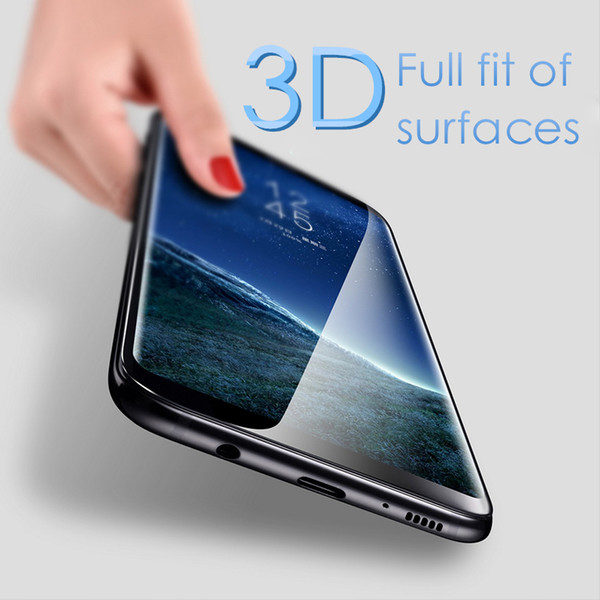 For Samsung Galaxy S8+ Note8 Tempered Glass 3D 9H Full Screen Cover Explosion-proof Screen Protector Film for iphone x 8 S7 EDGE S6 Note 8