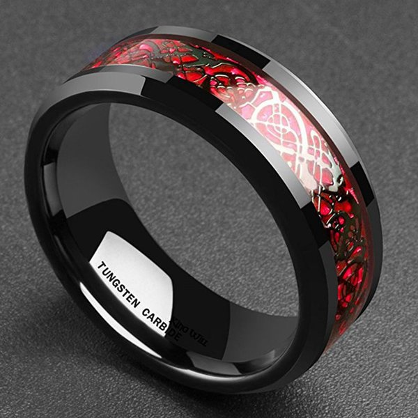 VOGUE Hot sale Man New Gold Plated Silver Plated Red Blue Dragon Pattern Stainless steel ring 6#--13# G372#