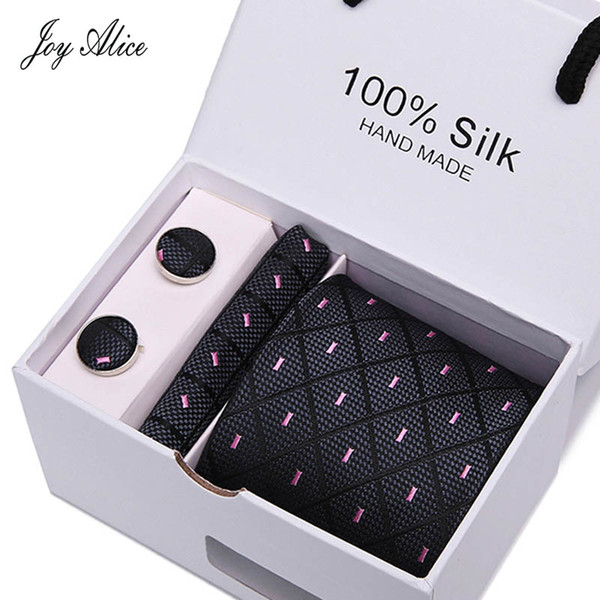 Pink color printed Ties Custom Brand Men Ties Purple Checked Necktie Sets Cufflinks Hankies in Gift Box Packing ties for men