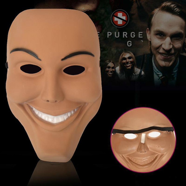 Nuevo Cosplay The Purge Smiling Face Clown Mask Festival Party Halloween Masquerade Full Head Masks Wholesale para adultos Mask --- Loveful