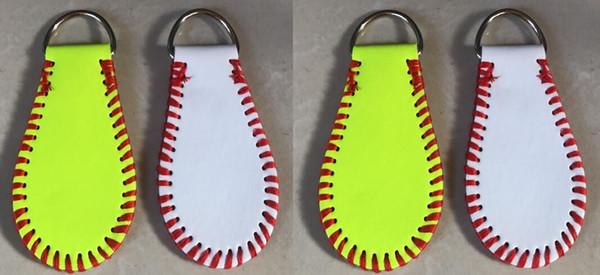 2018 Baseball Softball Keychain For Men Women Bag Pendant Key Ring Portable For Creative Design Yellow Leather Keys Chains