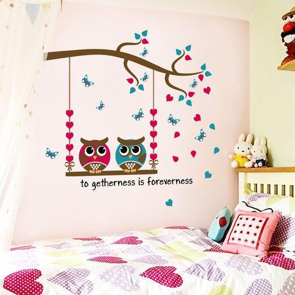 New Color Cartoon Owl Branch Adesivi murali per camerette Vinilo Adesivi murali per camerette Spedizione gratuita