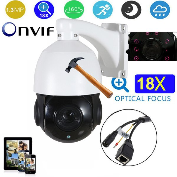 4.5 inch full HD 1.3MP Medium Speed dome Camera 18X zoom 1080P 80m IR outdoor waterproof security camera