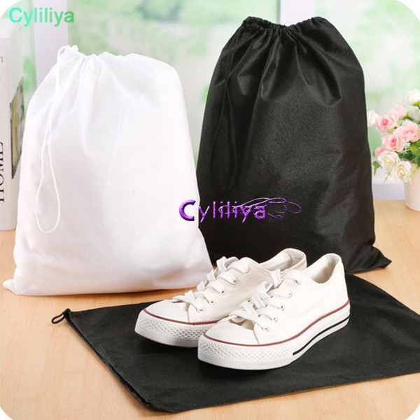 Black White Mesh Drawstring Bags For Shoes Clothes Storage Bag Zakka Organizer Travel Package Novelty household