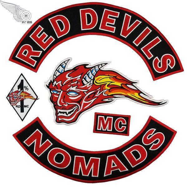 RED DEVILS NOMADS Patchs De Broderie Cool Fer Sur Vêtements Grand Patch MC De Mode Pour Biker