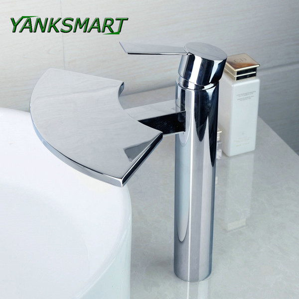 YANKSMART Fans Style Modern Brass Chrome Taps Widespread Waterfall Bathroom Basin Mixer Sink Faucet Water Tap