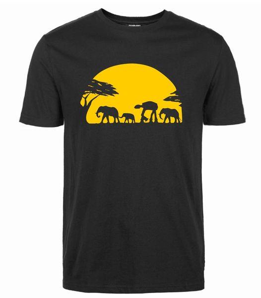 Fashion Elephants Walker Across African Safari T-Shirt 2018 Summer New Streetwear Style T Shirt Men's Short Sleeve O-Neck Tops