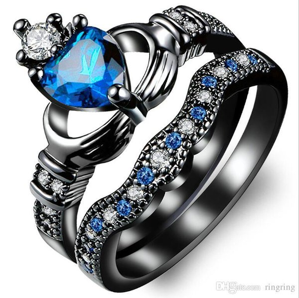 Luxury 925 Sterling Silver Black Gold Heart CZ Zircon Couple anniversary Lovers' Gem Ring Set Punk Women Men Wedding Gift Trendy Jewelry