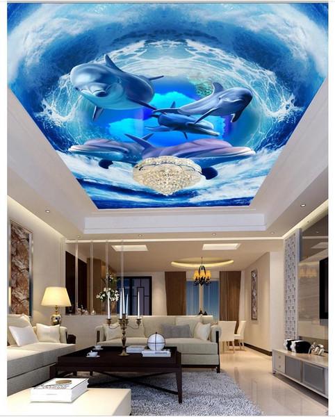 3d wallpaper custom photo ceiling mural wallpaper Surf Dolphin Living Room Bedroom Ceiling Zenith Mural Large Starry Sky wallpaper