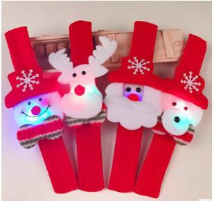 Braccialetto luminoso del polsino del slap del braccialetto di schiaffo di Natale con Santa Claus Snowman And Reindeer For Christmas Party Decoration