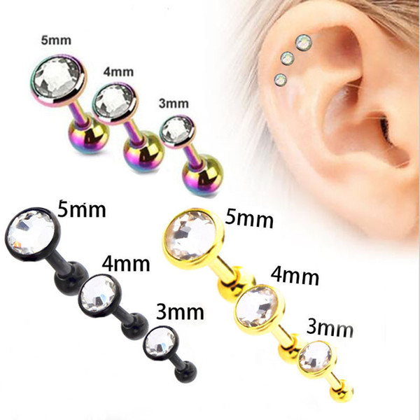 best selling 2018 high-quality hot new stainless steel ear bone nails with Ball , earrings, stud piercing plugs tunnel jewelry wholesale free shipping