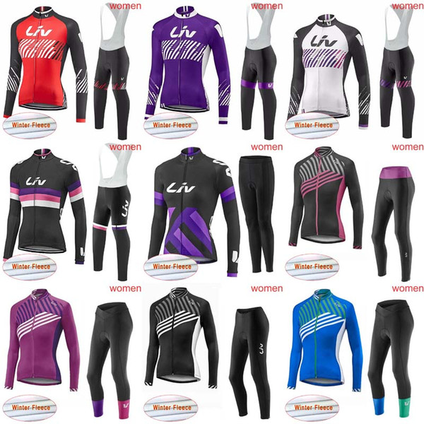 LIV Women Winter thermal Fleece long jersey only cycling clothing long sleeve Pro cycling jersey bib pants sets long pants winter C1301