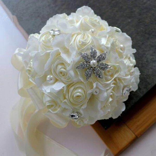 customized fashion white bride bouquet white rose bouquet flowers artificial flowers bouquet bride favors accessories festival flowers