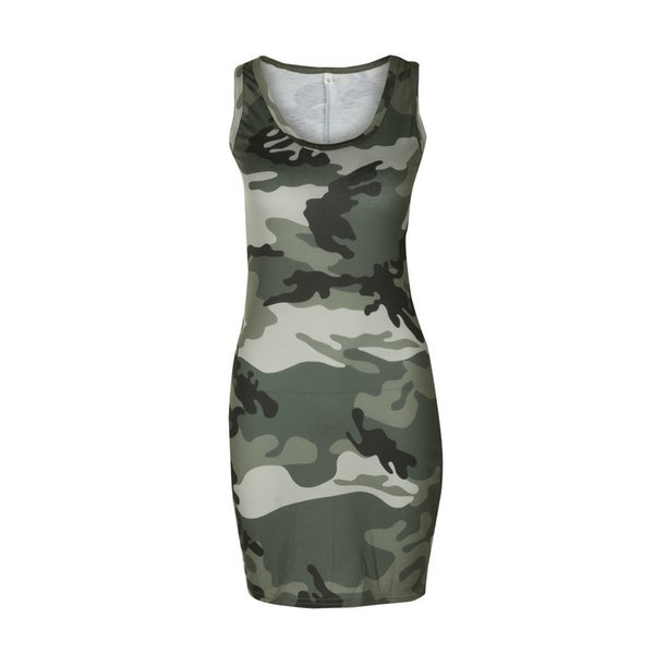 Spring and summer sexy camouflage printed slim sleeveless dress