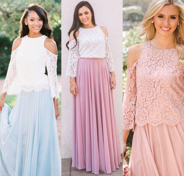 Falda de gasa de encaje superior 2-Pieces vestidos de dama de honor 2018 mangas de campana de dos tonos vestido de novia nupcial de longitud completa por encargo