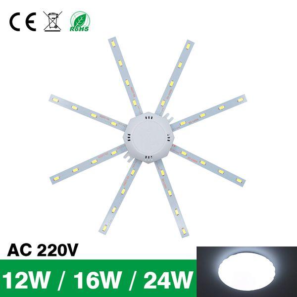 Yüksek Parlak LED ışık Tavan Lambası Enerji Tasarruflu Lamba 24 W 16 W 12 W 220 V PCB Kurulu Modifiye Işık Kaynağı LED Ampul Plaka Ahtapot