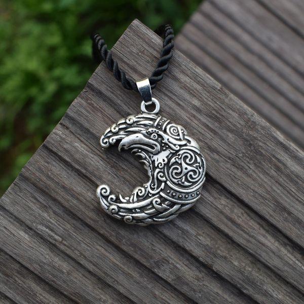 Moon shape knot raven pendant necklace Crow Viking Bird Jewelry Norse 12pcs