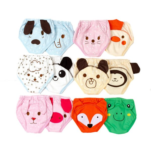 2Pcs Cartoon Baby Cloth Diapers Infant Potty Training Pants Boys Girls Reusable Cotton 4 Layers Baby Nappy Panties Waterproof