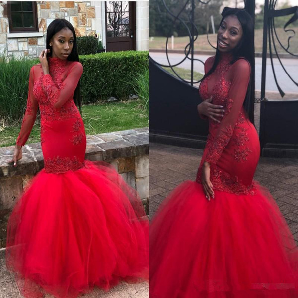 Red Mermaid Prom Dresses 2018 High Neck Sheer Long Sleeves Lace Appliques Beaded Party Evening Gowns African Arabic Plus Size Party Wear