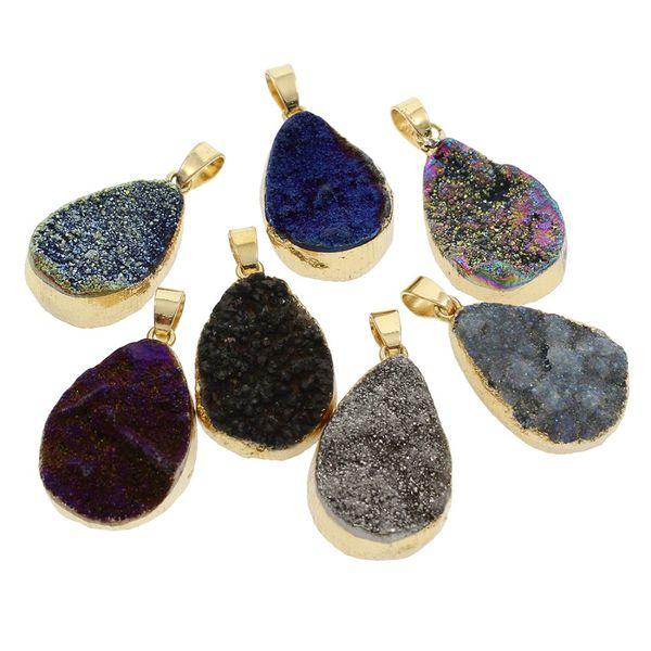 5pcs Water Drop Shape Natural Stone Pendants Gold Color Natural Druzy Pendant Ice Quartz Pendants for Jewelry Making