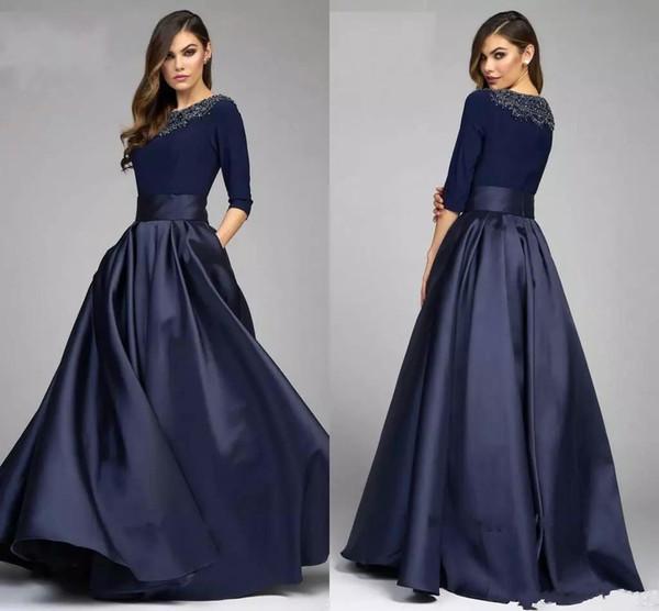 Vintage Navy A Line Madre de la novia Vestidos de novio con medias mangas Larga noche Vestido formal Vestido por encargo de la madre