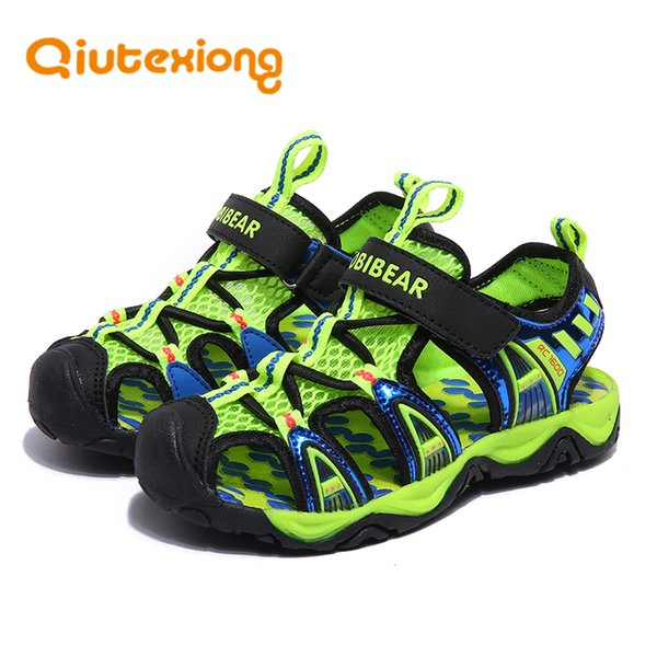 Insole Length 13-23 CM 3-12 Years Kids Girls Boys Beach Sandals Children Cut-Outs Breathable Mesh Leather Summer Shoes