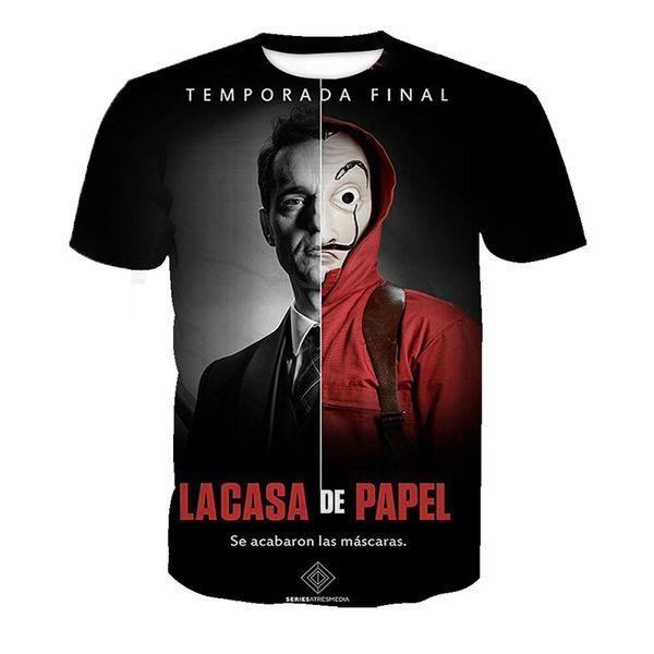 Newest La Casa De Papel Money Heist The House of Paper T-Shirt 3D Printed Women/Men Short Sleeve Unisex T-shirt Casual Tops 3D-Shirt K416