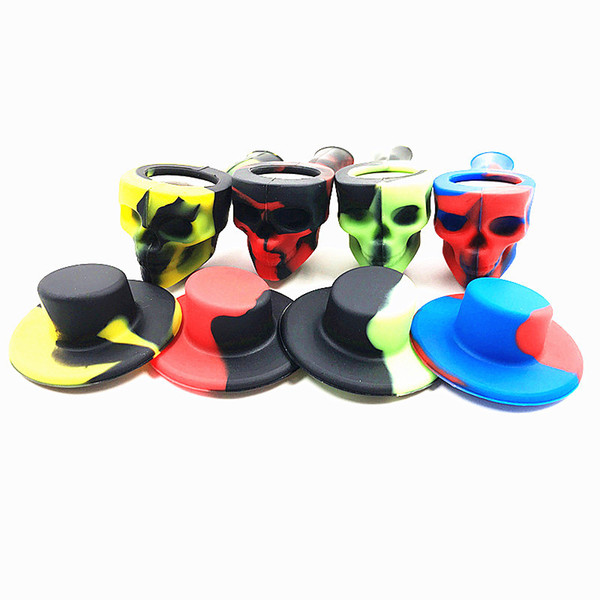New arrive Skull hats Silicone Pipe Portable Smoking Hand Pipes With Glass Bowl Cigarette Water Pipe Oil Burner for dab rigs