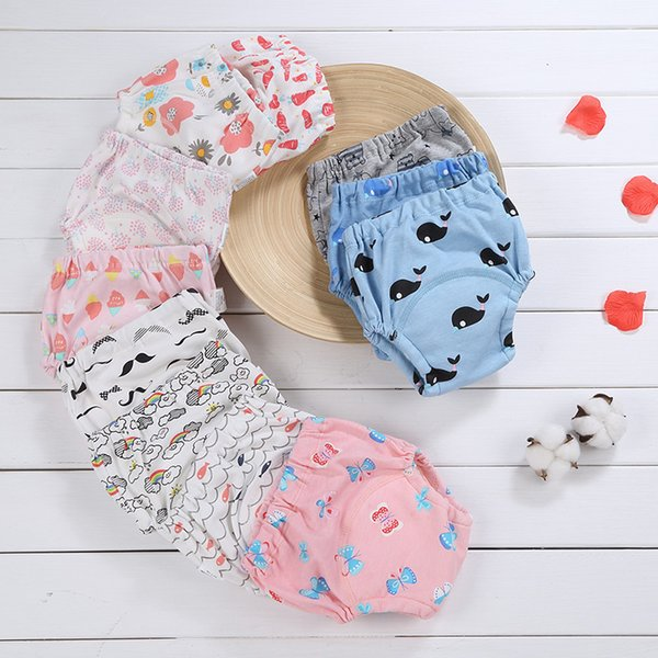 Reusable Baby Infant Nappy 6 Layers Cotton Cloth Washable Diapers Soft Covers Elastic Adjustable Swimwear Diapers Colorful