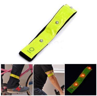 Safety Reflective Yellow Armband LED Lights Running Cycling Walking Legwarmers High Visibility 4 LED Reflective Armband Belt CCA10372 120pcs