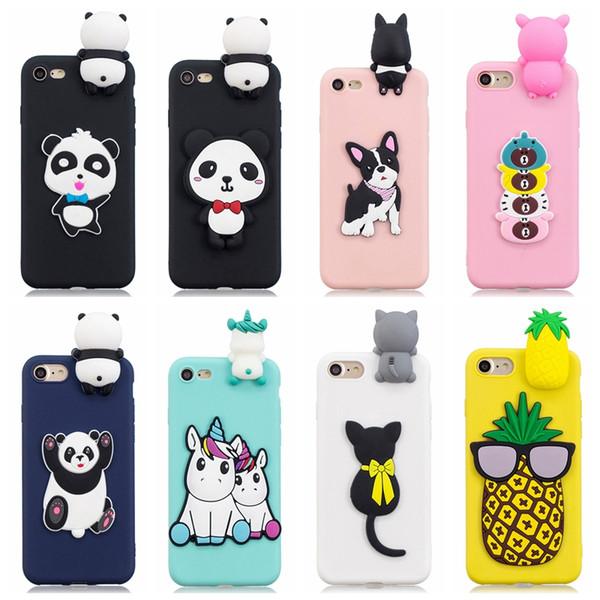 Custodia morbida in silicone 3D Panda Cartoon per Iphone XR XS MAX X 10 8 7 Plus 6 6S SE 5 5S Custodia Unicorno ananas per cani con copertura in gomma Cat Phone Back