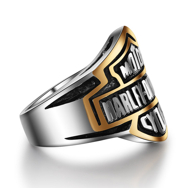 Punk High Quanlity Letter Titanium Rings Jewerly Popular Personality Motorcycle Rock Rings Men Women Harley Rings wholesale Drop Shipping