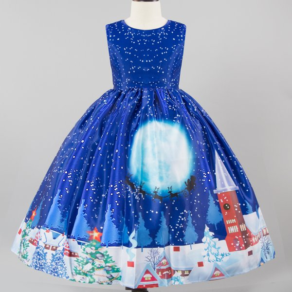 Printed Christmas Dress for Little Girl Blue Tutu Dresses Xmas Gift for Children Girls Ball Gown Cute Princess Clothes
