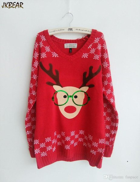 Wholesale-New-arriving Rudolph the Red Nose Reindeer Wearing Glasses Ugly Christmas Sweaters for Women S-XL