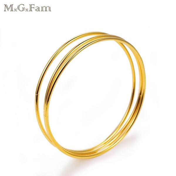MGFam (84BA) (3pcs / set) Minuscule Lisse Bracelets Bracelets pour Bijoux De Mode Femmes 24k Or Plaqué Style Traditionnel
