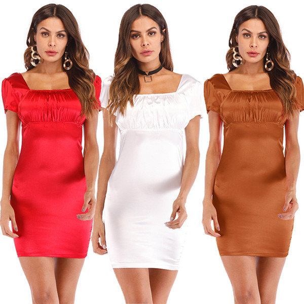 Womens Square Neck Pleated Top Fitted Bodycon Dress Vintage Cap Sleeved Empire Waist Silk Casual Dress