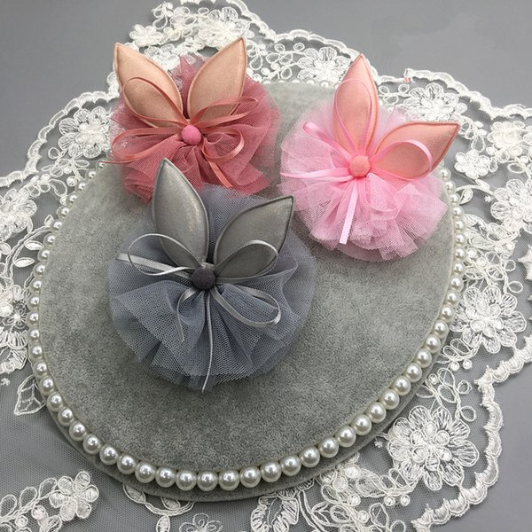 2018 12pcs/lot Kids Rabbit Ears Hairpin Modish Girls Cartoon Clip Ribbon Bows Wool Ball Gauze Barrettes Tulle Hair Clip