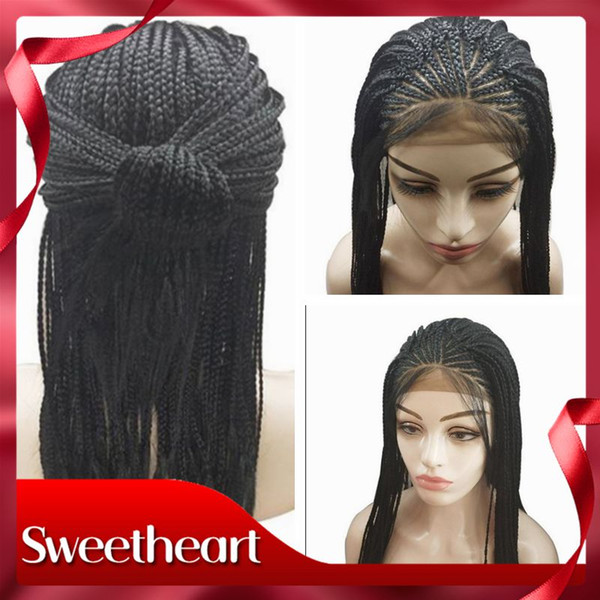 Top Synthetic Lace Front Wig Black Micro Braiding with Baby Hair Hot Popular Braided Wigs for Women Heat Resistant Fiber Box Braid Wigs