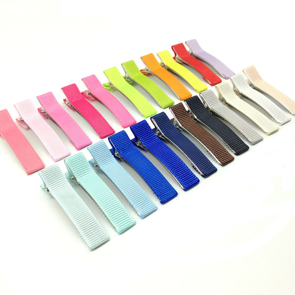 100pcs 25 Colors Mixed 5cm Good Quality Metal Alligator Hair Clip with Fabric Covered Baby Barrette Hairpin for Hair Bow Hair Accessories