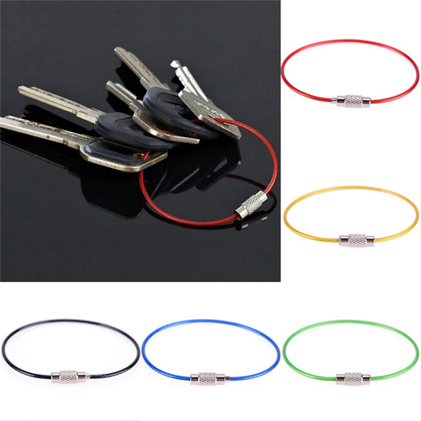 Keychain Screw Locking Stainless Steel Wire Cable Rope Key Holder Key Chain Rings Cable Outdoor Hiking Free Shipping