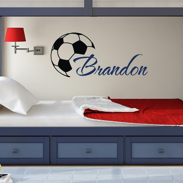 Personalized Custom Boys Name Wall Decals With Soccer Art Wall Stickers For living room bedroom Home Decoration