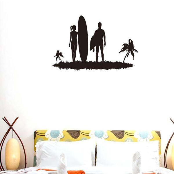 Creativo Elegante Lover Beach Surfing Pattern Rimovibile Wall Stickers per Soggiorno camera da letto Home Art Decor Murales K532