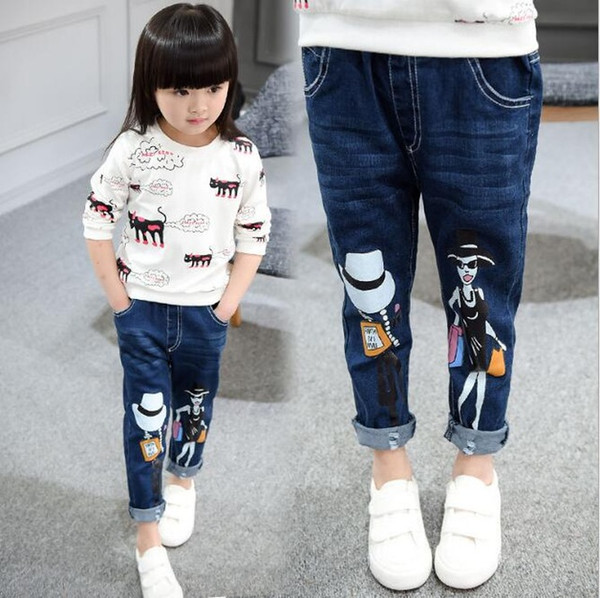 Cartoon doll printing Children Pants Trousers Autumn Baby Boys Girls Jeans Fashion 2-8Y kids clothes baby girls clothes