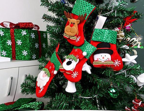 2017 newest Cartoon Christmas Tree Santa Socks Hanging Ornaments Decoration Fairy tale Christmas Festival Decoration crafts TO240