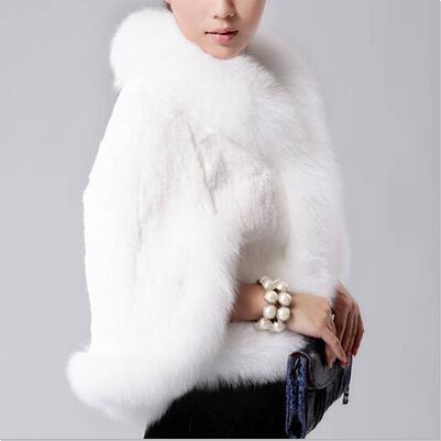 2018 New Fur Faux Coat Visone Capelli Rex Rabbit Capelli Cape Jacket Nero Bianco Fur Coat Imitation Rabbit Fur Faux Collare Fox XXXL